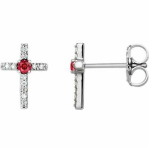 Chatham Created Ruby & .06 CT Diamond Cross Earrings In Platinum