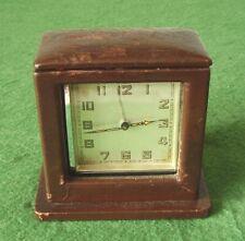 Reloj Despertador De Viaje Art Deco Cromo & Estuche de cuero para la pequeña reparación C 1930s