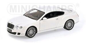 MINICHAMPS 100 139621 BENTLEY CONTINENTAL GT diecast model car white 2008 1:18th