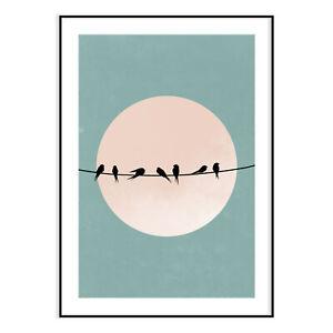 Birds On A Moon Modern Wall Art Stylish Poster Fashion Prints House Decor