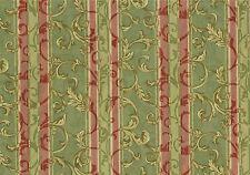 Mill Creek Fabric Green Rose Scroll Stripe Damask Cotton Drapery Upholstery