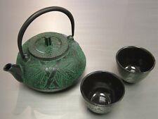 Japanese Cast iron Tea Pot Cup Set Green Bamboo,