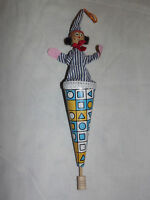 VINTAGE  CHRISTMAS TREE ORNAMENT TOY POP UP CLOWN JESTER PUPPETS IN PAPER CONE