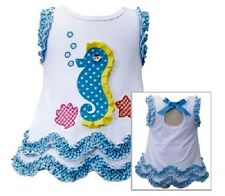 Bonnie Jean Girls White Knit Bubble SEAHORSE & SHELL Spring Summer Dress 18M New