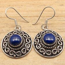 Natural LAPIS LAZULI Gems Handmade Antique Design Earrings ! 925 Silver Plated