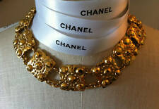 Vintage CHANEL Gold Plated NECKLACE Choker 2CC3 Sautoir CC Chain Hammered Strand