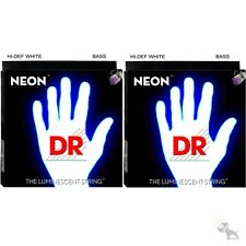 2-Pack DR Strings K3 NEON Hi-Def WHITE BASS NWB6-30 30-125 Six String Bass