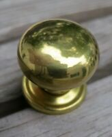 Set of Unused Vintage 8 Brass Round 1-Inch Knobs & Backplates, Half Price of New