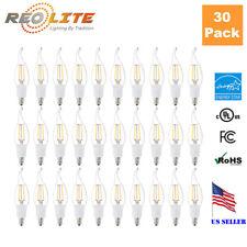 3W Flame Tip LED Light Bulb for Chandelier & Candelabra E12 2700k 30W 30 Pack
