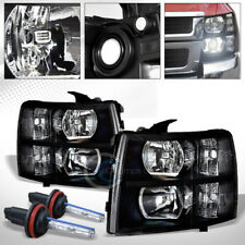 6000K Hid Xenon+Factory Black Head Lights Signal Lamps nb 07-14 Chevy Silverado