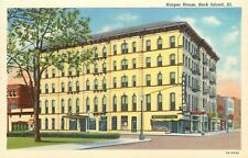 Rock Island Illinois~Harper House hotel~Interstate Liquors~1939 Linen Postcard