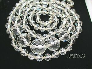 ART DECO CLEAR FAUX ROCK CRYSTAL KNOTTED BEAD HEAVY LONG OPERA VINTAGE NECKLACE