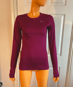 Nike Miler Dri-fit Dark Pink Reflective Long Sleeves Running Gym Active Top XS