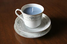 "TRIO TAZZA DA TE CANDELA, DIANE BONE CHINA"" ""Japan, Delicato Fiore Design, cera blu"