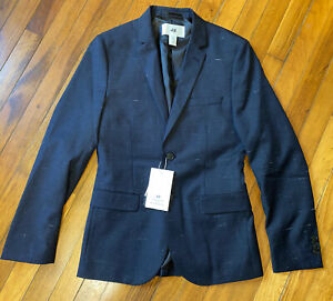 Rare NWT $99 H&M David Beckham Slim Fit Modern Sport Jacket Coat Blazer Blue 34