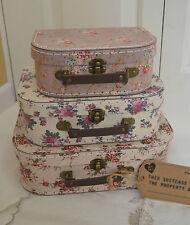 SET 3 VINTAGE PINK ROSE SUITCASE WEDDING DECORATION  BEDROOM STORAGE BOX NEST