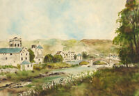 Mid 20th Century Watercolour - River Landscape with Town