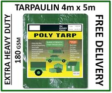 Extra Heavy Duty Tarpaulin 4m x 5m, Green Groundsheet Waterproof Cover, 180gsm