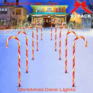 4/5/10 Pack 38/53CM Christmas Candy Cane Lights Pathway Outdoor Garden USB LED