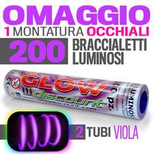 BRACCIALETTI LUMINOSI VIOLA 200 PZ  glow in the dark fluorescente party dj 30177