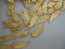 20 x Gold Tone Feather Angel Wings Charms Pendants Beads 33mm Bird Fairy Wiccan