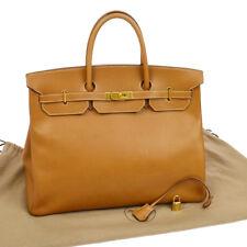 100% Authentic HERMES BIRKIN 40 Hand Bag Brown Ardennes France Vintage RK12404