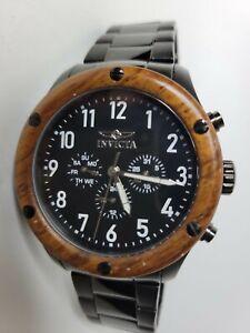 Invicta Specialty Multifunction Watch Black 47mm Wood Bezel 20488