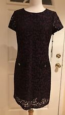 Tommy Hilfiger Lace Embroidered Shift Dress Black Wine 10 NWT