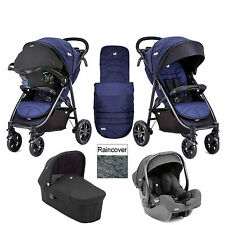 JOIE Litetrax 4 Wheel Pushchair Stroller With Footmuff and Raincover Eclipse