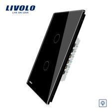 LIVOLO US Standard Wall LED Light Dimmer Switch 2 Gang 1 Way Black Switch
