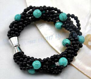 6 Strands 4mm Black Agate Gemstone 8mm Blue Turquoise Round Beads Bracelet 7.5''