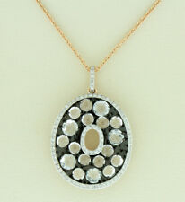 "14K Rose Gold Clasp Natural Round White Topaz Stones 3.68 CT Chain Pendant - 16"""