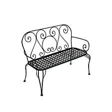 Panchina da esterno in ferro nero antiruggine a due posti per giardino o veranda