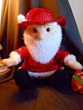 Nwt Unused ~ Cowboy Santa ~ Stuffed Plush wearing a Red Sequin Outfit Snuggle