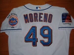 NEW YORK METS ORBER MORENO RARE '04 GAME USED WORN JERSEY WITH PATCHES (ROYALS)
