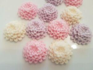 12 Edible Sugar Chrysanthemums, Pastel Cake Decorations, Cupcake Toppers