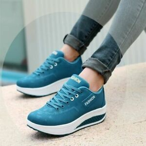 Women High Platform Trainers Lace-up Wedge Sole Sneakers Sports Running Shoes
