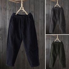 Womens Casual Loose Elastic Waist Corduroy Cargo Trousers Harem Pants Plus Size