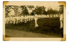 Military/Navy -OFFICER W/ MEGAPHONE & SAILORS IN WHITE- WWI RPPC Postcard