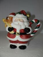 Santa Tea Pot 5 Cups 1997 Candy Cane Handle