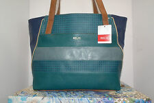 "Relic Convertible Tote Teal, Navy & Cognac 10.5""H x 19W x 4.25D NWT"