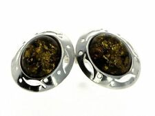 CERTIFIED GREEN BALTIC AMBER & 925 STERLING SILVER Studs Beauty EARRINGS - G015G