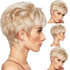 Women Short Boycut Layered Pixie Haircut Hair Wigs with Bangs Natural Blonde Wig