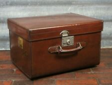 Edwardian Solid Leather Square Hatbox Suitcase