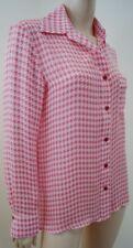TUCKER TRILOGY Pink & White 100% Silk Houndstooth Blouse Shirt Top Sz:L BNWT