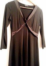 BCBG Paris Black V-Neck Poly/Spdx Silk Contrast Trim Wear to Work Dress SIZE S