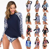 Women Long Sleeve Two Piece Rash Guard Swimsuit Surfing Wetsuit Swimwear Bathing