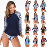 Women Long Sleeve Two Piece Rash Guard Swimsuit Surfing Wetsuit Swimwear Bikini