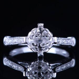 SOLID 10K WHITE GOLD 7MM ROUND SEMI MOUNT ENGAGEMENT DIAMOND SETTING ROYAL RING