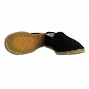 Kung Fu Tai Chi Shoes Slip on Slipper Ninja - Black with Yellow Rubber Sole